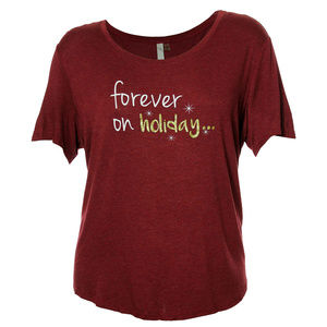 2x Burgundy Short Sleeve Holiday Graphic Tee Shirt
